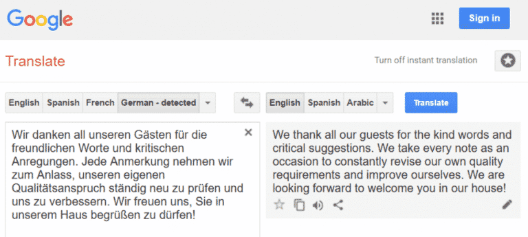 the problem with google translate